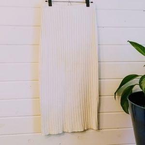 Long White Knit Skirt